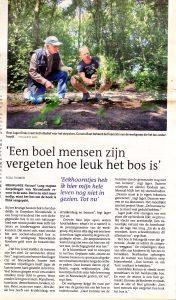 Krante-artikel van het bos